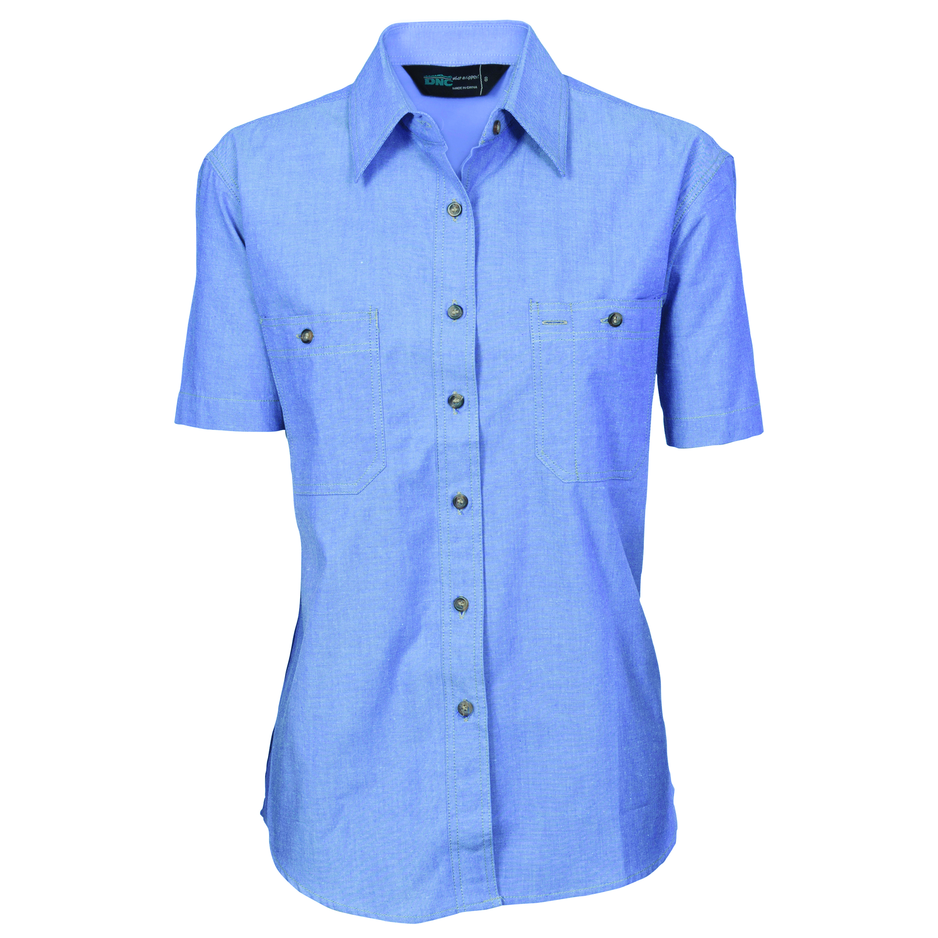 Product display dnc workwear workwear work wear for Short sleeve chambray shirt women