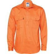 Close Front Cotton Drill Shirt - Long Sleeve