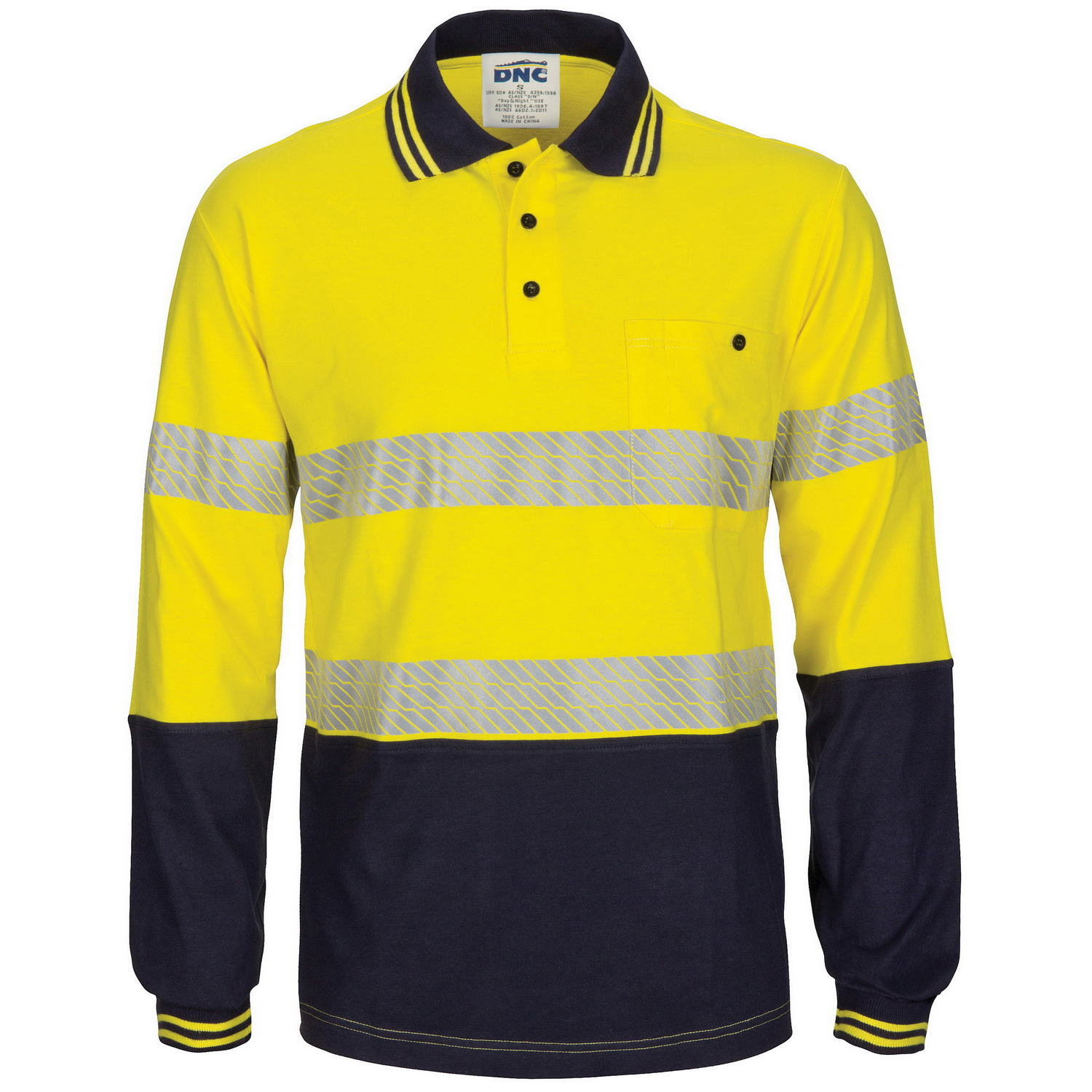 HIVIS Segment Tape Cotton Jersey Polo - Long Sleeve