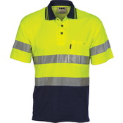 Hi Vis Two Tone Cotton Back Polos with Generic R.Tape - short sleeve