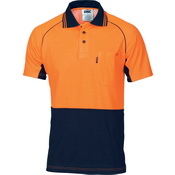 HiVis Cotton Backed Cool-Breeze Contrast Polo - Short Sleeve