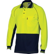 HiVis Cotton Backed Cool-Breeze Contrast Polo - long Sleeve