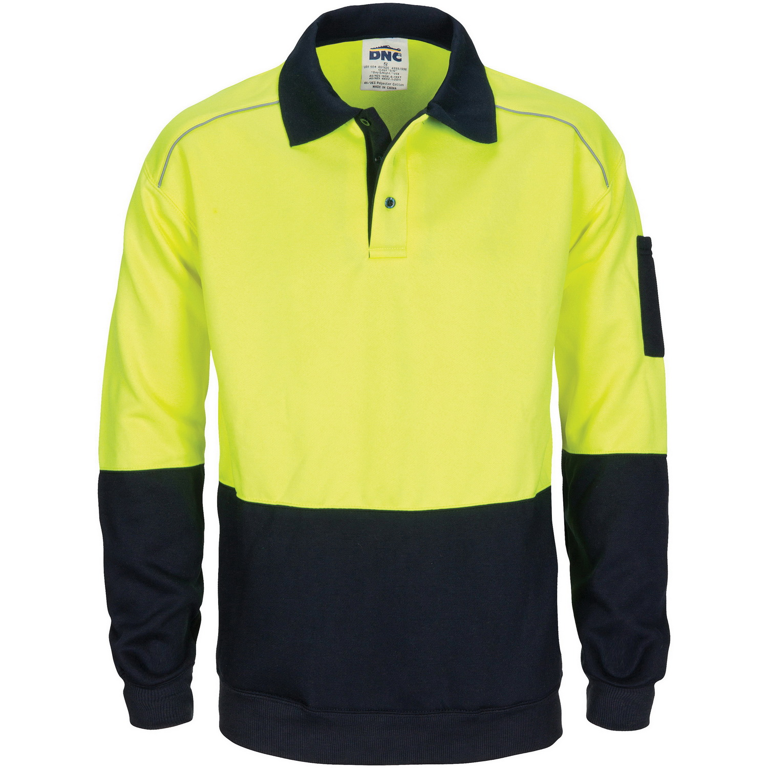HiVis Rugby Top Windcheater with Two Side Zipped Pockets