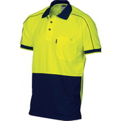 HiVis Cool-Breathe Double Piping Polo -