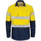 HiVis R/W Cool-Breeze T2 Vertical Vented Cotton Shirt with Gusset Sleeves, Generic R/Tape - Long Sle