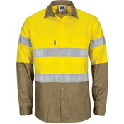 HiVis L/W Cool-Breeze T2 Vertical Vented Cotton Shirt with Gusset Sleeves. Generic Tape - Long sleev