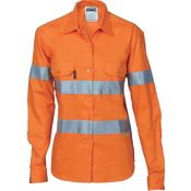 Ladies HiVis Cool-Breeze Cott on Sh irt with 3M R/Tape - Long sleeve