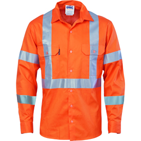 Hivis cool-breeze cotton shirt with double hoop on arms & 'X' back CSR R/tape - long sleeve
