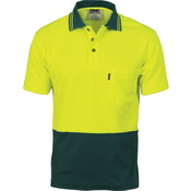 Cotton Back HiVis Two Tone Fluoro Polo - Short Sleeve