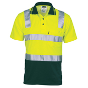 Cotton Back HiVis Two Tone Polo Shirt with 3M R/ Tape - Short sleeve