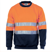 HiVis Two Tone Fleecy Sweat Shirt (Sloppy Joe) with 3M R/Tape Crew-Neck
