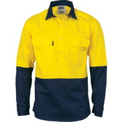 HiVis Two Tone Close Front Cotton Drill Shirt - long sleeve Guss et Sleeve