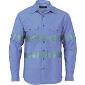 Cotton Chambray Shirt with Generic R/Tape - Long sleeve