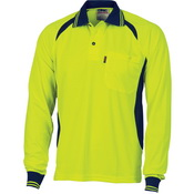 Cool-Breeze Contrast Mesh Polo - long sleeve