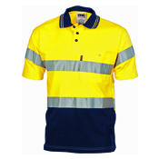 Hivis Cool-Breeze Cotton Jersey Polo With 3M R/Tape - S/S