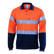 Hivis Cool-Breeze Cotton Jersey Polo With 3M R/Tape - L/S