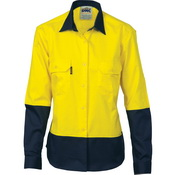 Ladies HiVis 2 Tone Cool-Breeze Cott on        Sh irt - Long Sleeve