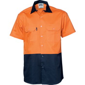 HiVis Two Tone Cotton Drill Vented Shirt -