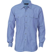 Mens Twin Flap Pocket Cotton Chambray - Long Sleeve