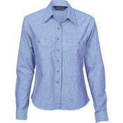 Ladies Cotton Chambray Shirt - Long Sleeve