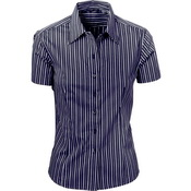 Ladies Stretch Yarn Dyed Contrast Stripe Sh irts -Short Sleeve
