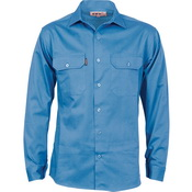 Cotton Drill Work Shirt With Gusset Sleeve - Long Sleeve