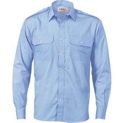 Epaulette Polyester/Cotton Work Shirt - Long Sleeve