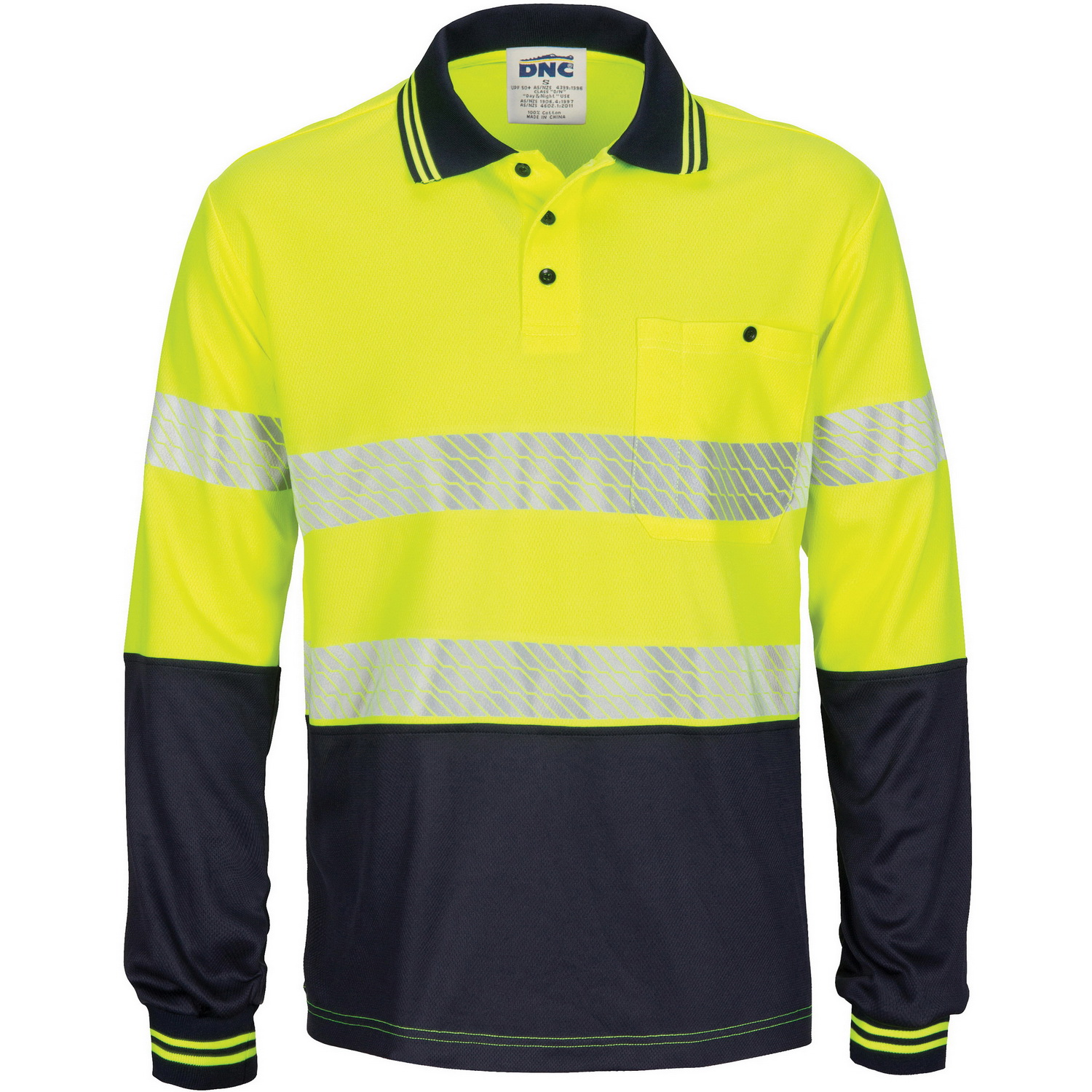 HIVIS Segment Taped Mircomesh Polo - Long Sleeve