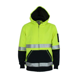 Hivis 2 tone full zip super fleecy hoodie with CSR R/tape