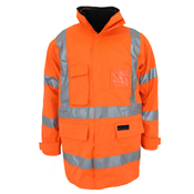 "HiVis ""X"" back ""6 in 1"" Rain jacket Biomotion tape"