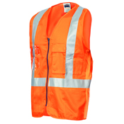 Day/Night Cross Back Cotton Safety Vests with CSR R/Tape