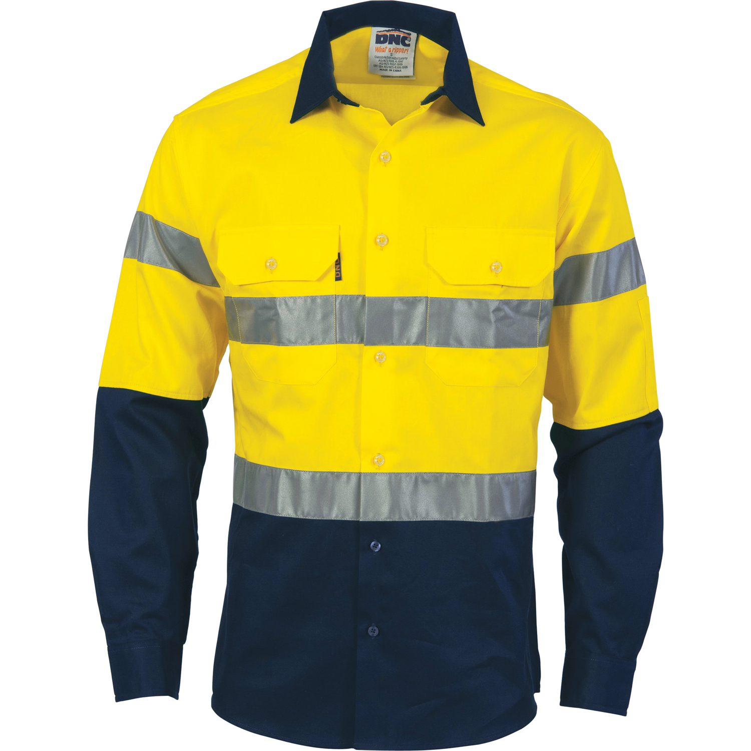 e23006e66615 HiVis D N 2 Tone Drill Shirt with Generic R Tape - long sleeve. Loading zoom